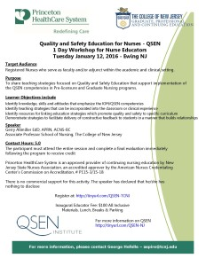 QSEN Workshop Flyer Jan 2016. TCNJ